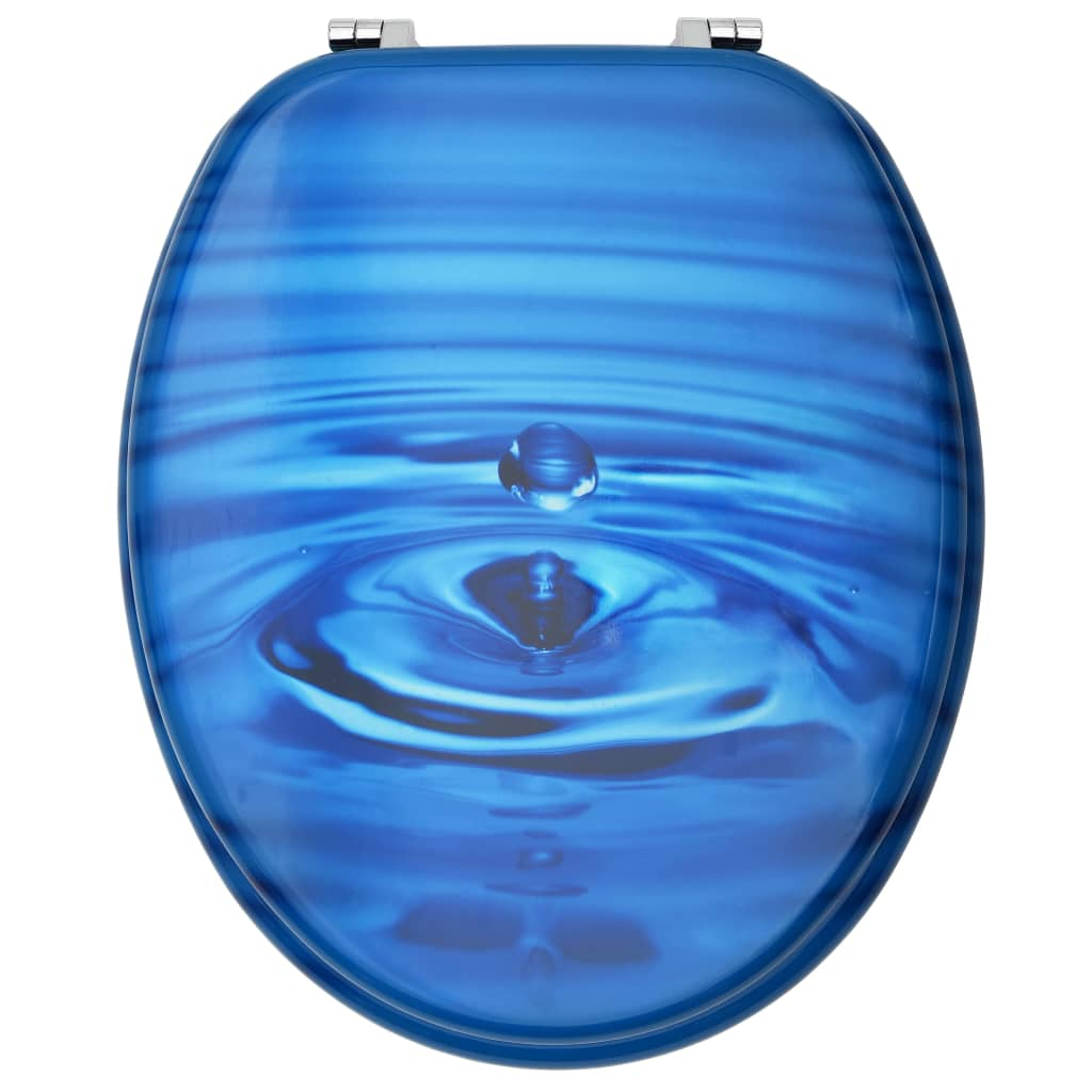Capac WC, MDF, albastru, model strop de apă