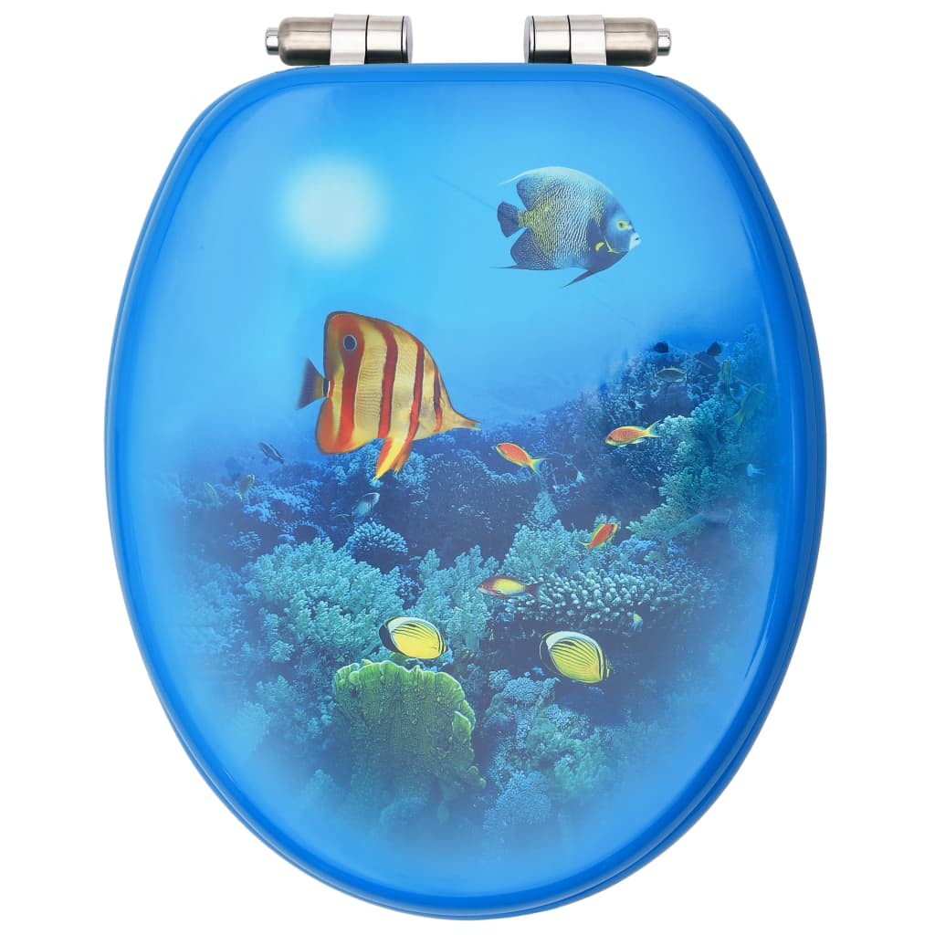 Capac WC cu închidere silențioasă, MDF, model subacvatic