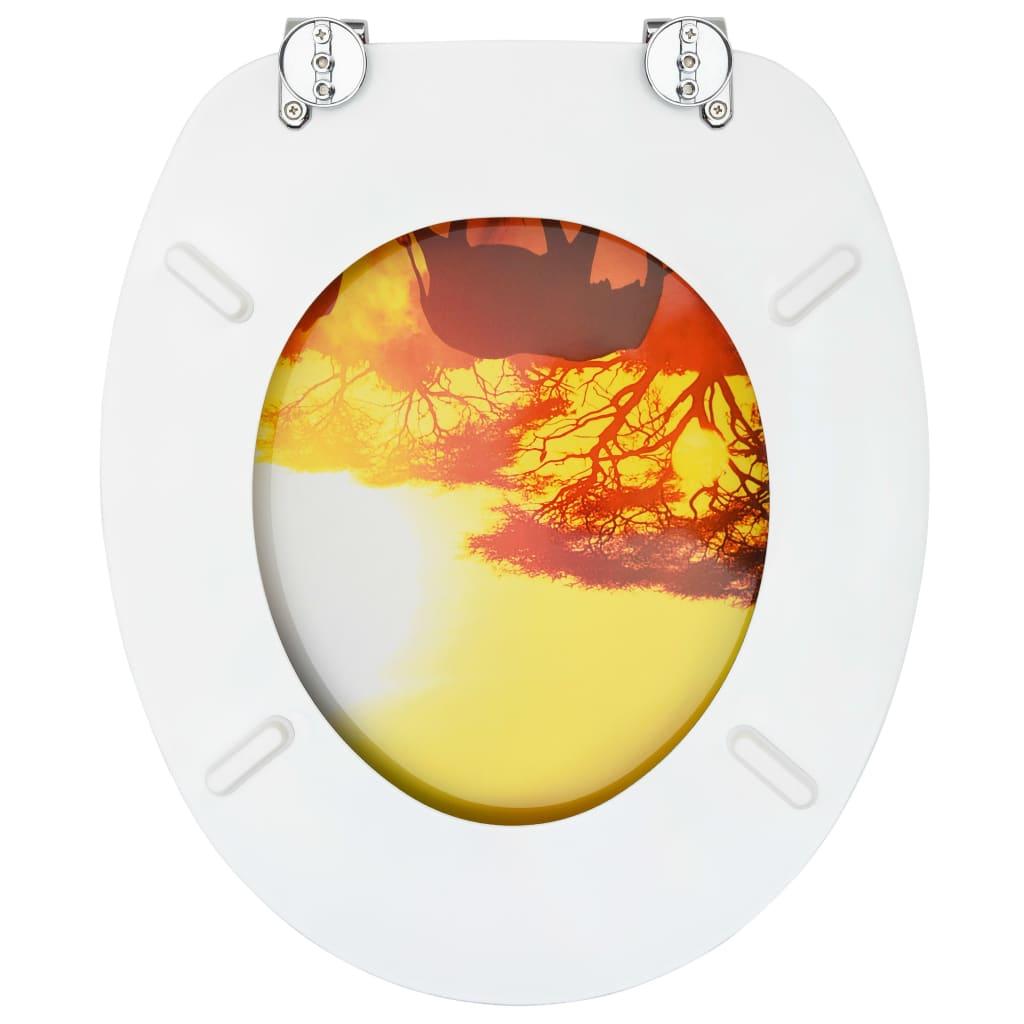 Colac WC cu capac, MDF, design savană