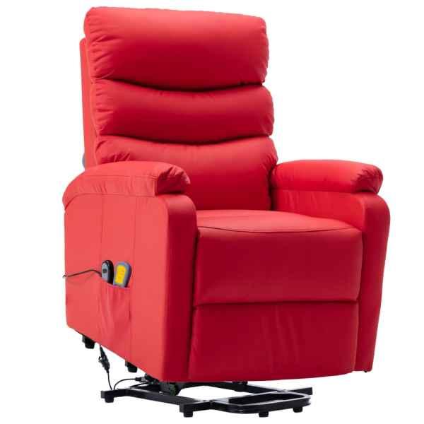 Fotoliu de masaj rabatabil cu ridicare, roșu, piele ecologică