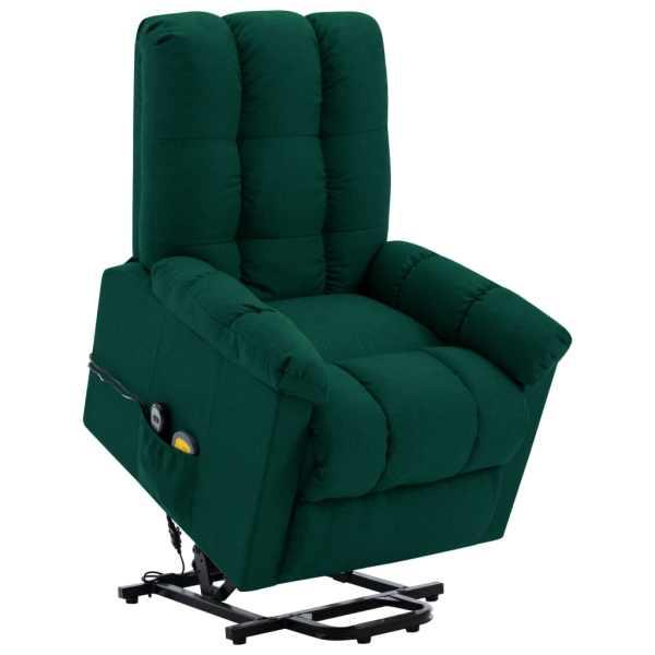 vidaXL Fotoliu de masaj cu ridicare verticală, verde închis, textil