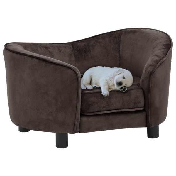 vidaXL Canapea pentru câini, maro, 69 x 49 x 40 cm, pluș