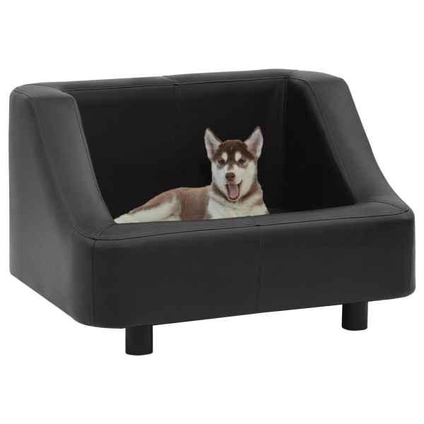 vidaXL Canapea pentru câini, negru, 67 x 52 x 40 cm, piele ecologică
