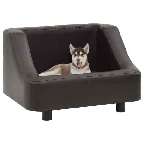 vidaXL Canapea pentru câini, maro, 67 x 52 x 40 cm, piele ecologică