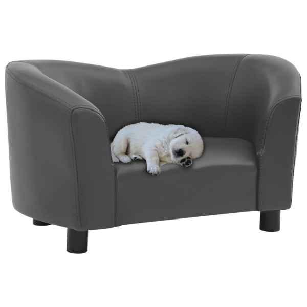 vidaXL Canapea pentru câini, gri, 67 x 41 x 39 cm, piele ecologică