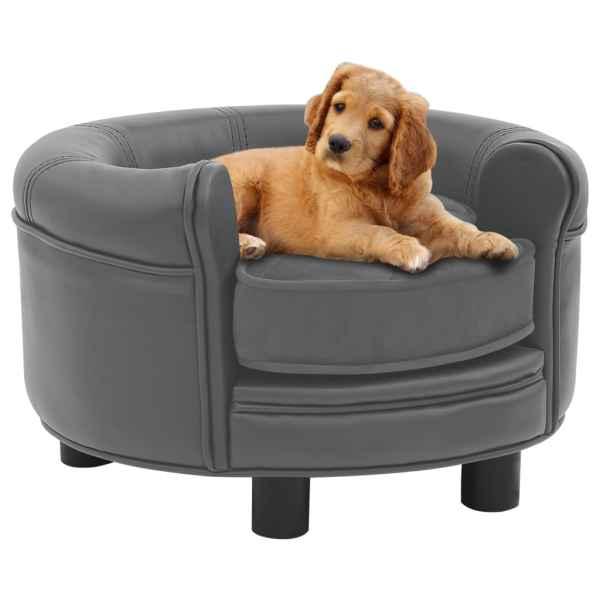vidaXL Canapea pentru câini, gri, 48x48x32 cm, pluș & piele ecologică