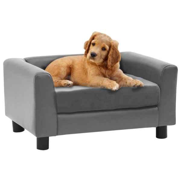 vidaXL Canapea pentru câini, gri, 60x43x30 cm, pluș & piele ecologică