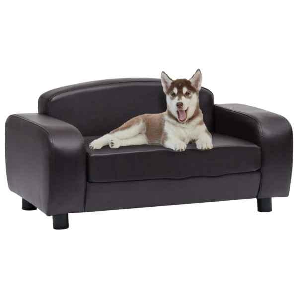 vidaXL Canapea pentru câini, maro, 80 x 50 x 40 cm, piele ecologică