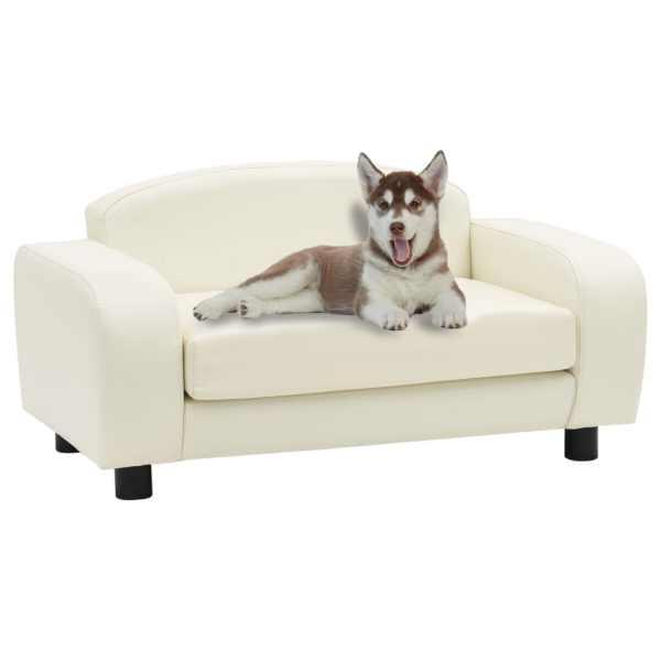 vidaXL Canapea pentru câini, alb, 80 x 50 x 40 cm, piele ecologică