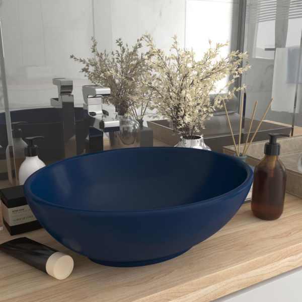 vidaXL Chiuvetă de lux, albastru mat, 40×33 cm, ceramică, formă ovală