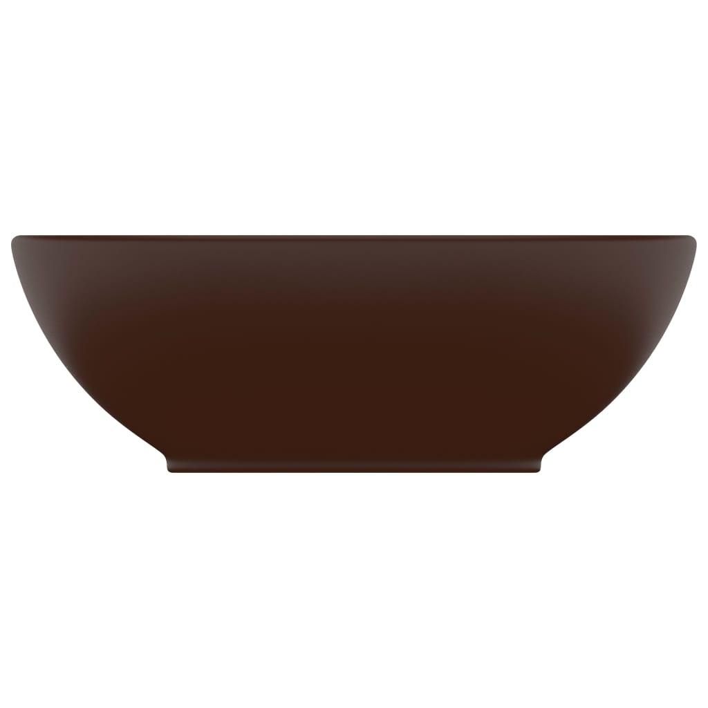 Chiuvetă de lux, maro mat, 40 x 33 cm, ceramică, formă ovală