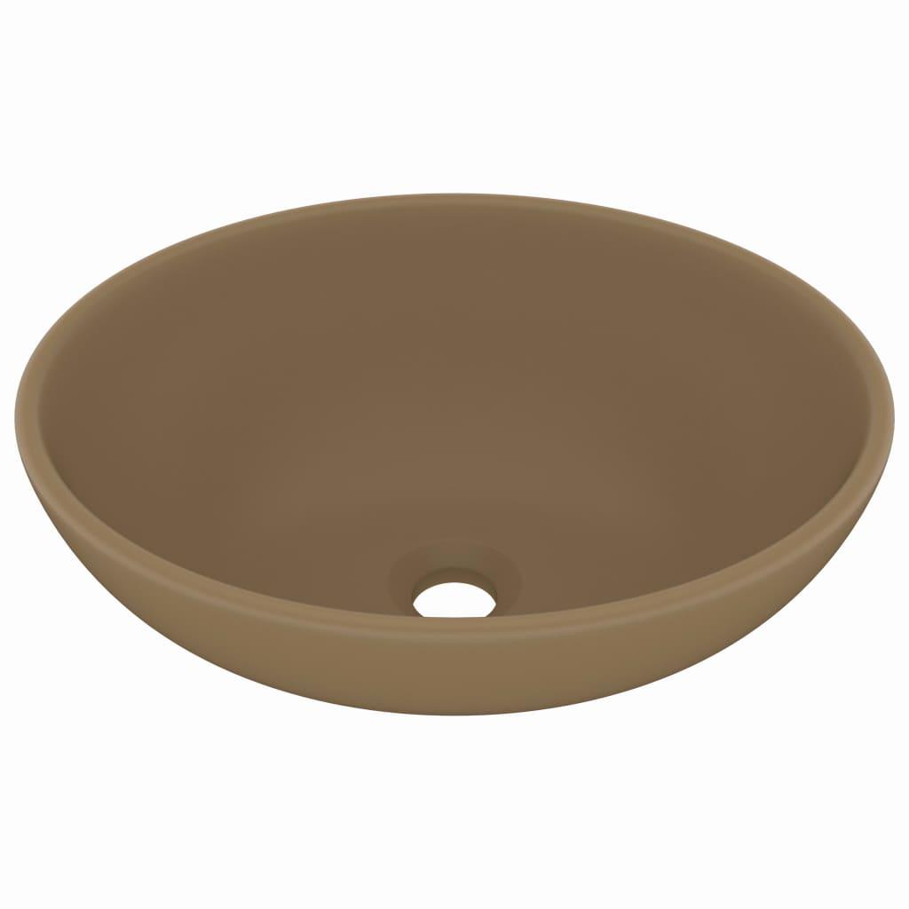Chiuvetă de lux, crem mat, 40 x 33 cm, ceramică, formă ovală