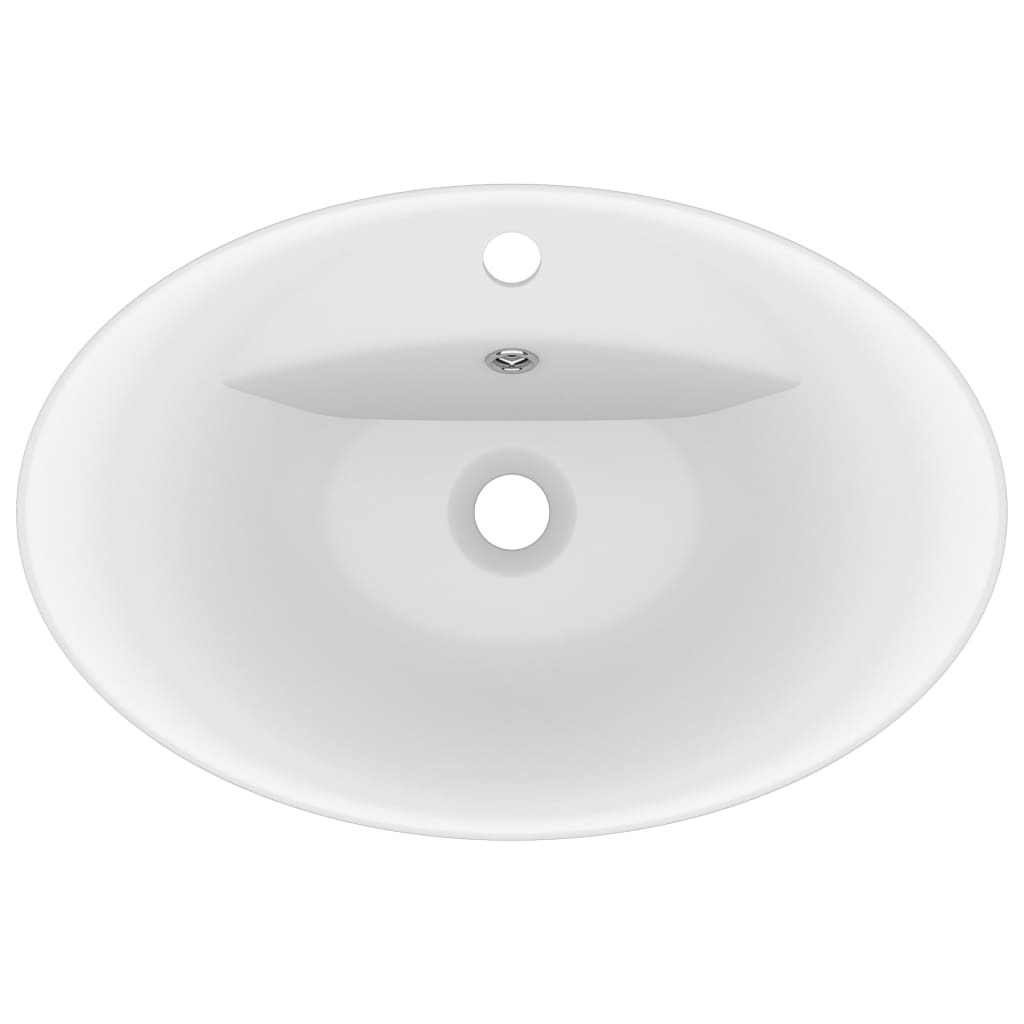 Chiuvetă lux cu preaplin, alb mat, 58,5×39 cm ceramică, oval