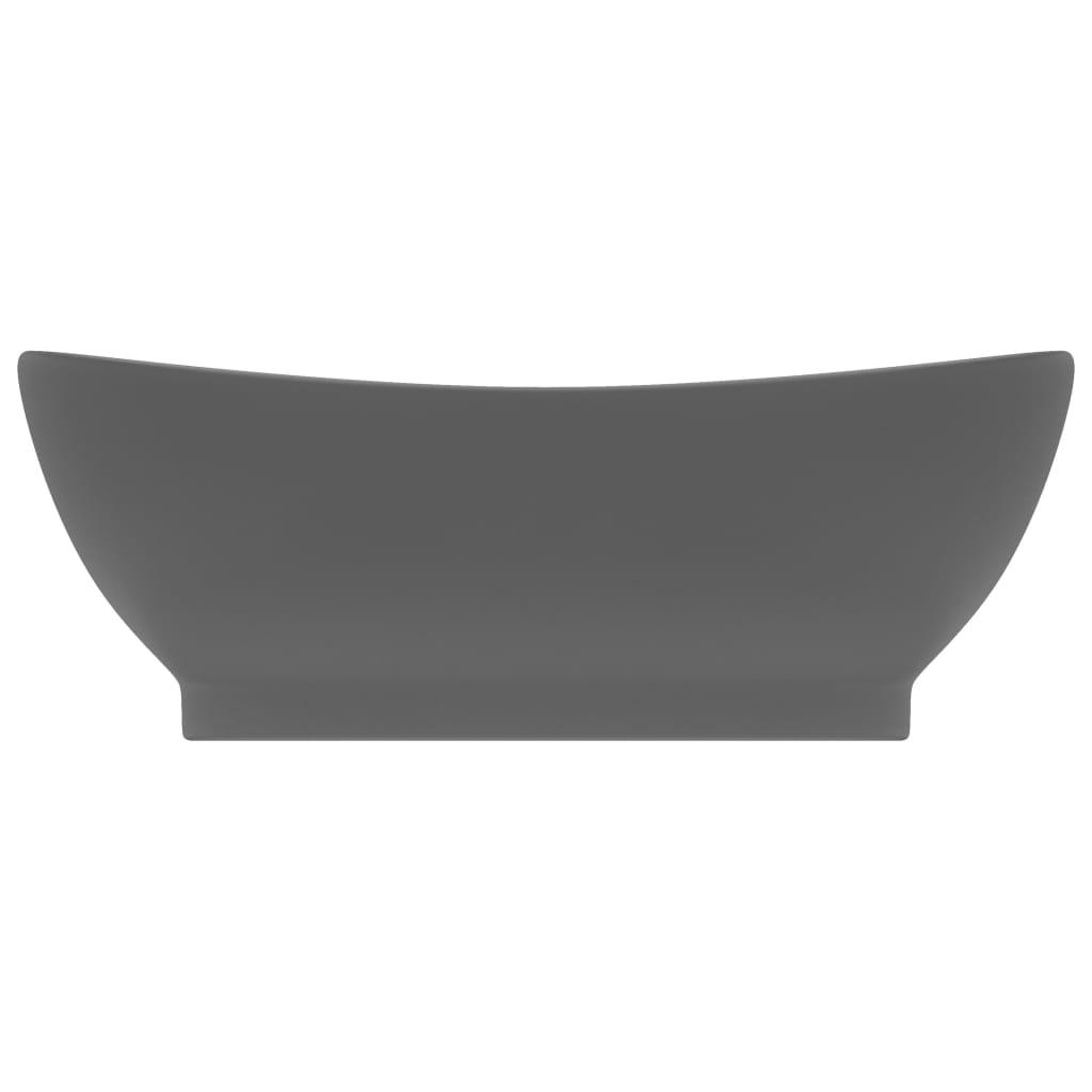 vidaXL Chiuvetă lux cu preaplin gri închis mat 58,5x39cm ceramică oval