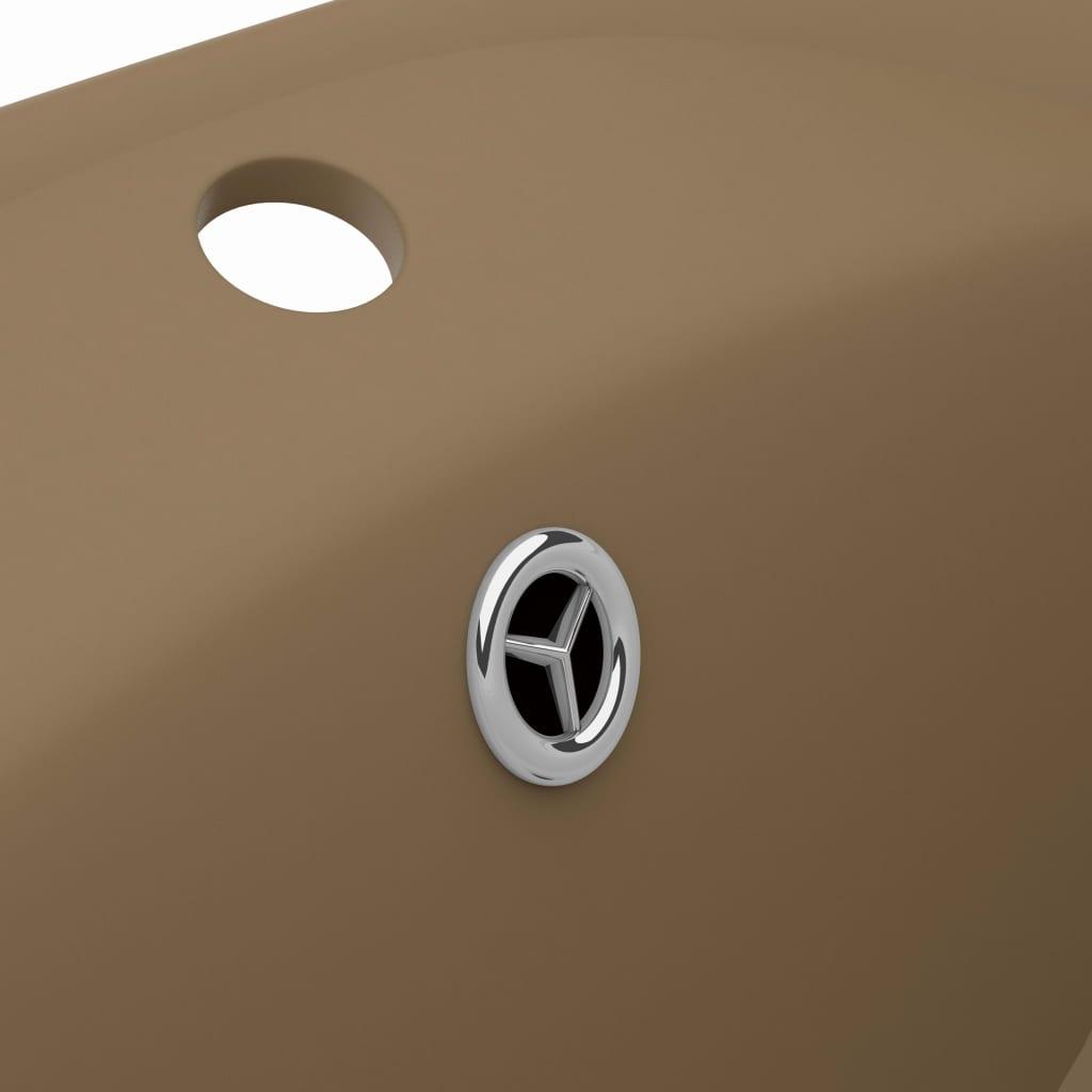 Chiuvetă lux cu preaplin, crem mat, 58,5×39 cm ceramică, oval