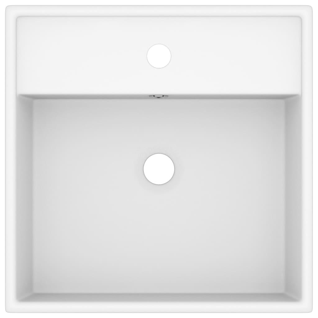 vidaXL Chiuvetă lux cu preaplin, alb mat, 41×41 cm, ceramică, pătrat