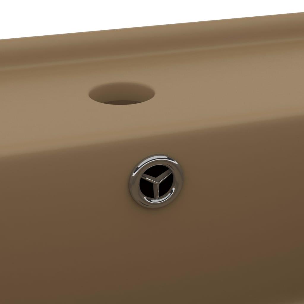 Chiuvetă lux cu preaplin, crem mat, 41×41 cm, ceramică, pătrat