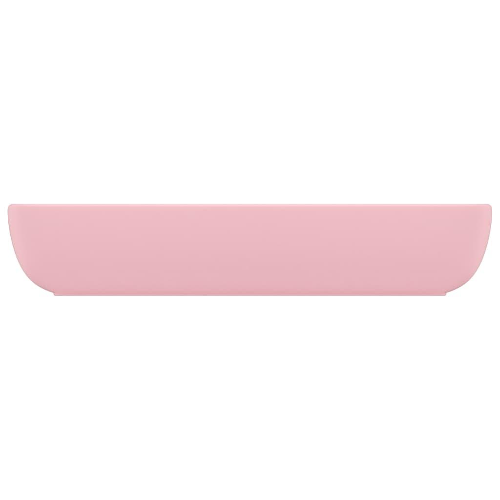 Chiuvetă dreptunghiulară de lux, roz mat, 71 x 38 cm, ceramică