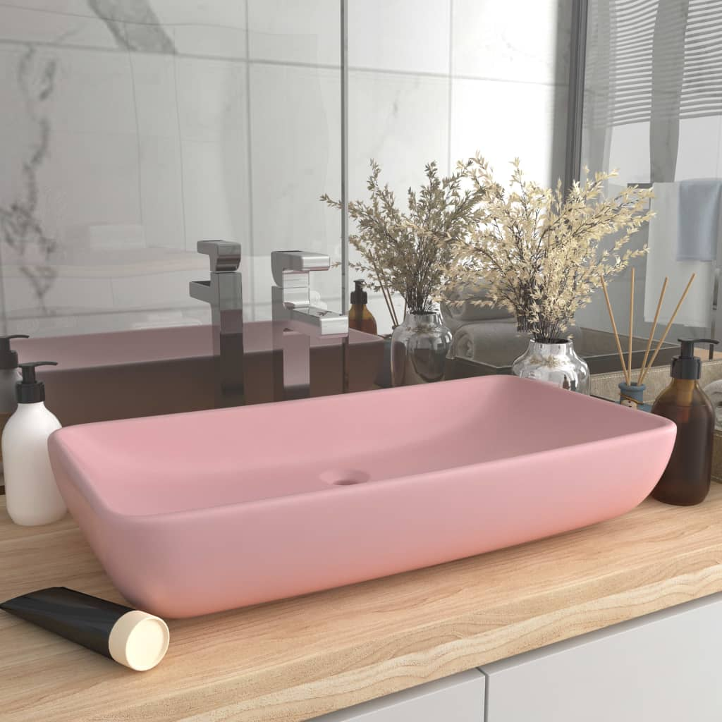 vidaXL Chiuvetă dreptunghiulară de lux, roz mat, 71 x 38 cm, ceramică