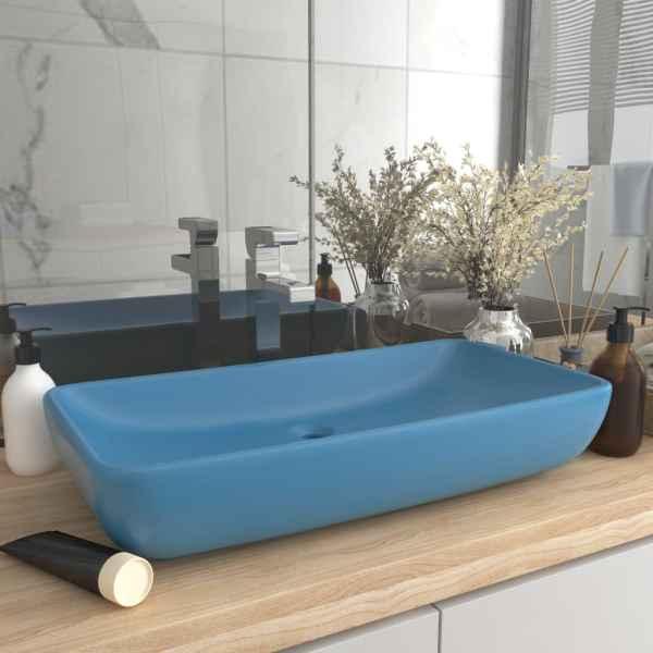 vidaXL Chiuvetă dreptunghiulară lux, bleu mat, 71 x 38 cm, ceramică