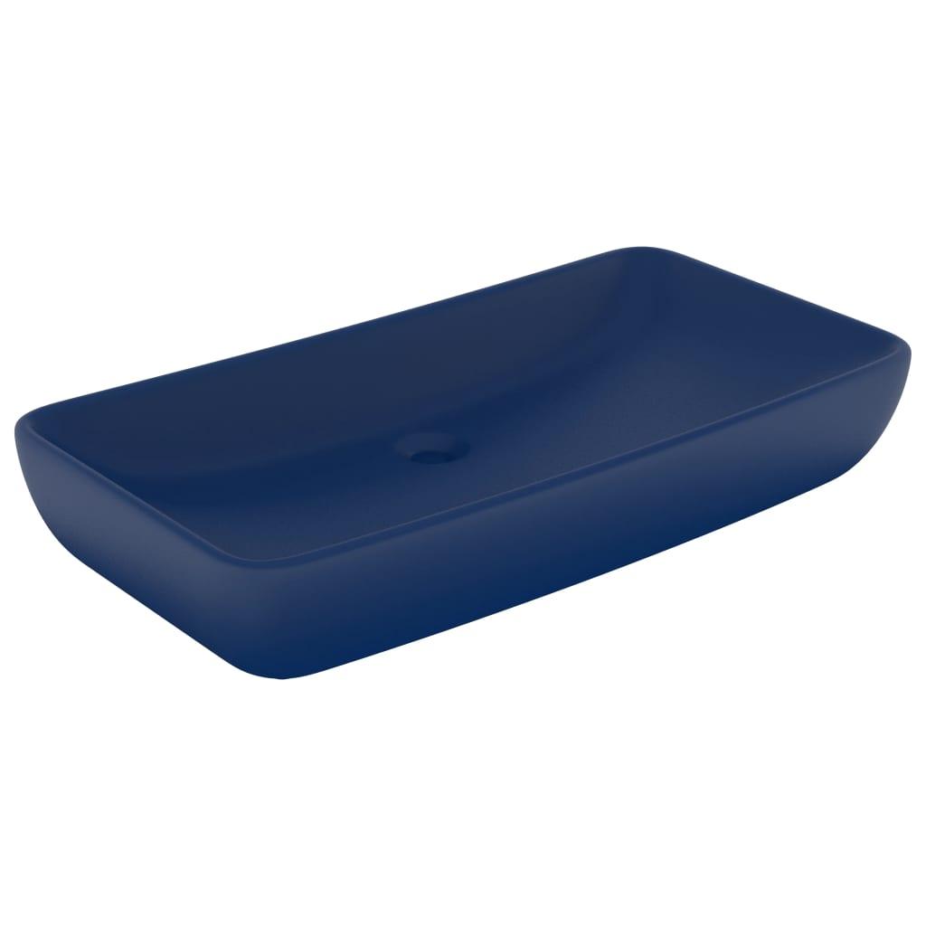 vidaXL Chiuvetă dreptunghiulară lux, albastru mat, 71×38 cm, ceramică