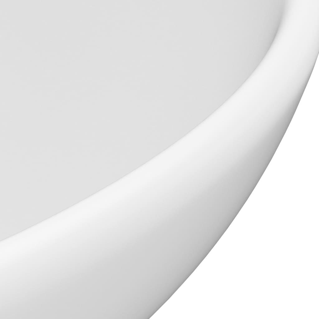 Chiuvetă baie lux, alb mat, 32,5×14 cm, ceramică, rotund