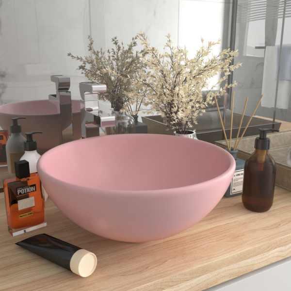 vidaXL Chiuvetă baie lux, roz mat, 32,5×14 cm, ceramică, rotund