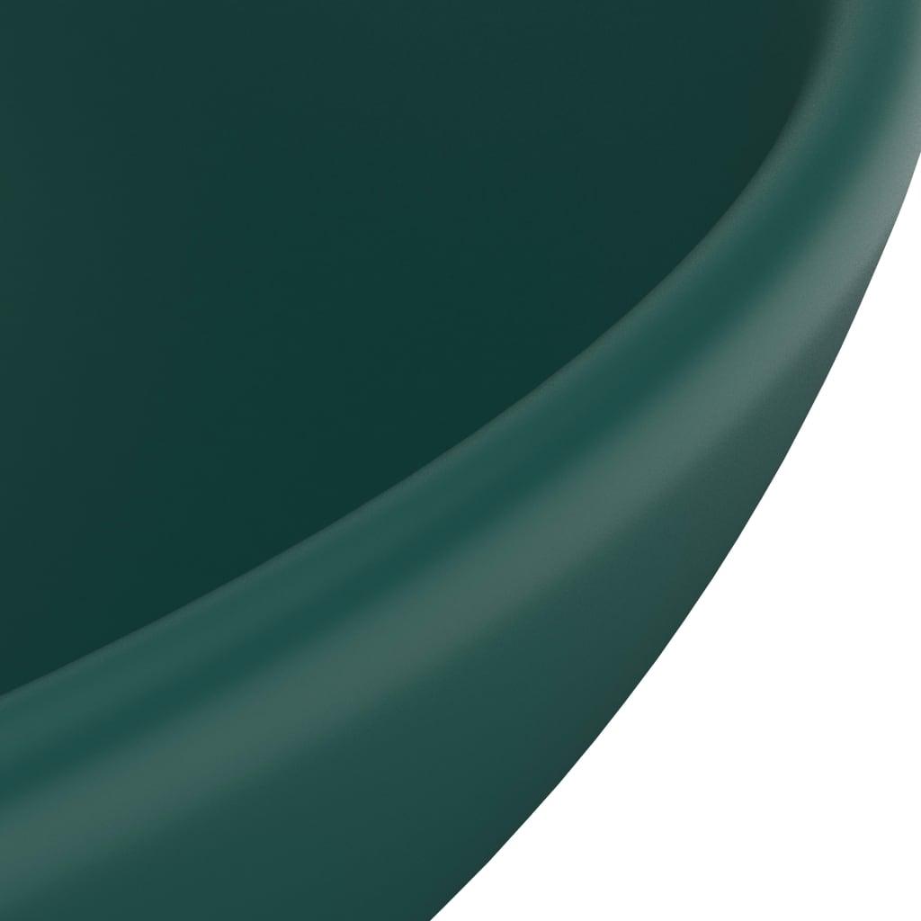 Chiuvetă baie lux verde închis mat 32,5×14 cm ceramică rotund