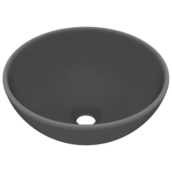 vidaXL Chiuvetă baie lux, gri închis mat, 32,5×14 cm, ceramică, rotund