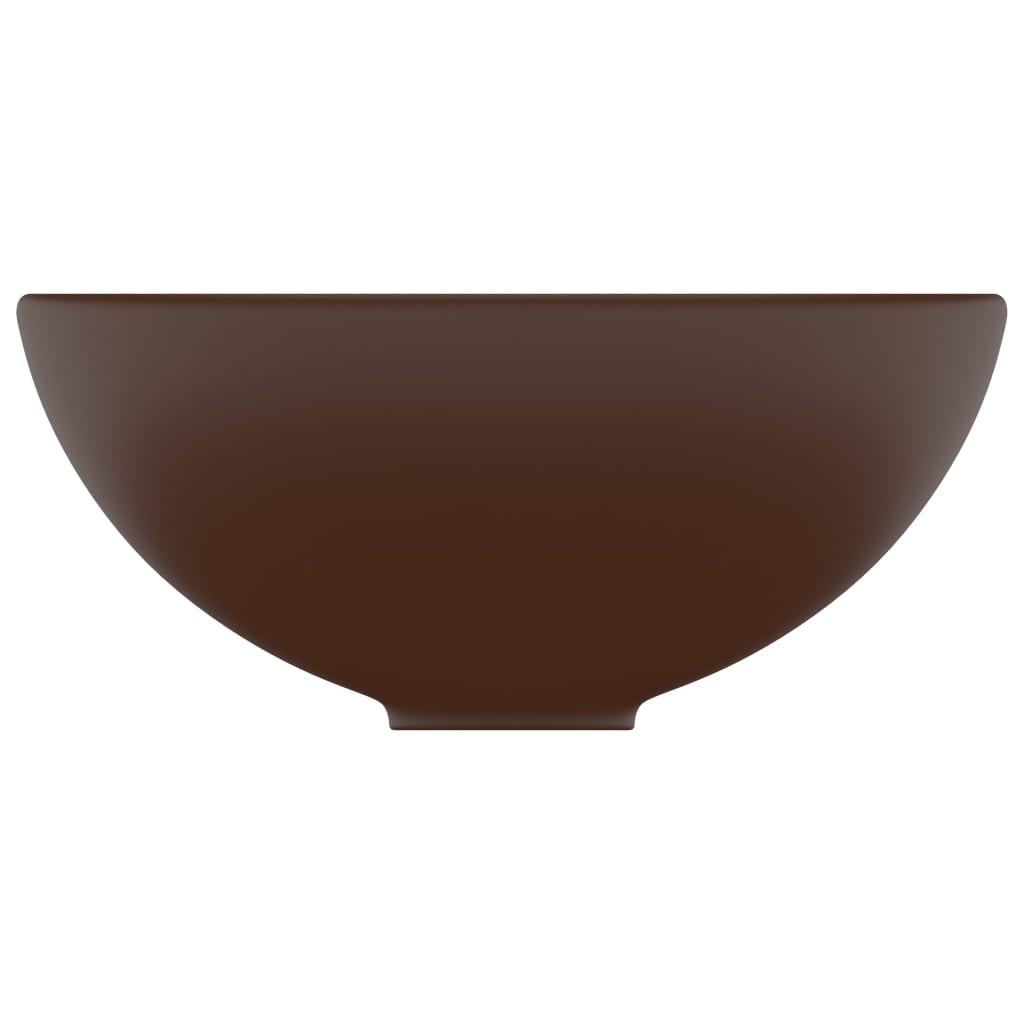 Chiuvetă baie lux maro închis mat 32,5×14 cm ceramică rotund