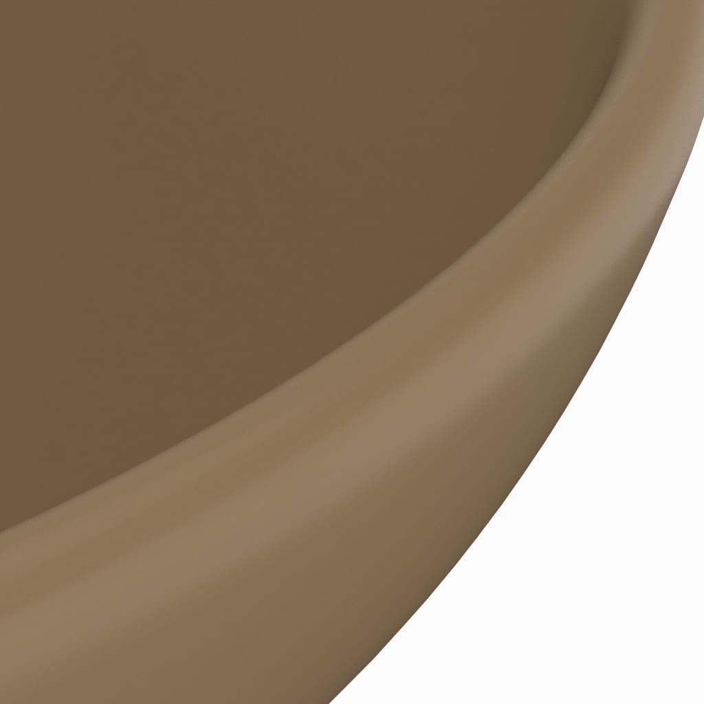 Chiuvetă baie lux, crem mat, 32,5×14 cm, ceramică, rotund