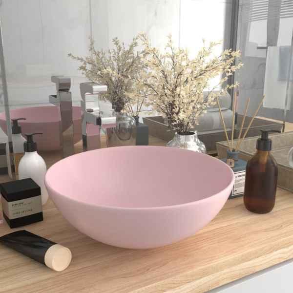 vidaXL Chiuvetă de baie, roz mat, ceramică, rotund