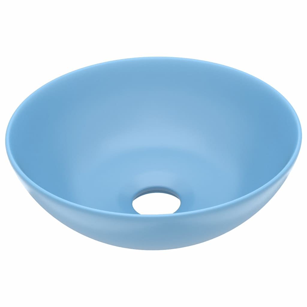 Chiuvetă pentru baie, albastru deschis, ceramică, rotund