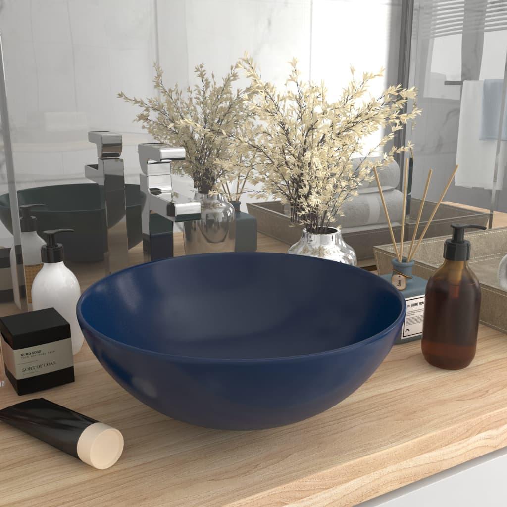 vidaXL Chiuvetă de baie, albastru închis, ceramică, rotund
