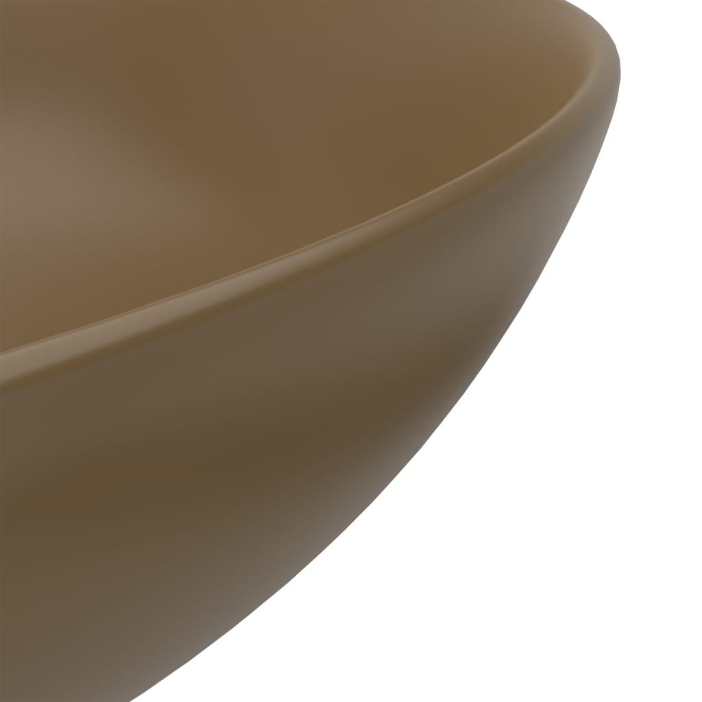 Chiuvetă de baie, crem mat, ceramică, rotund