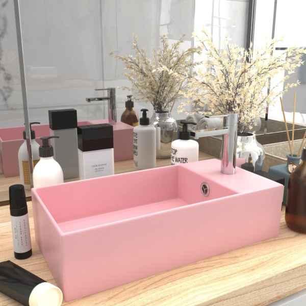 vidaXL Chiuvetă de baie cu preaplin, roz mat, ceramică