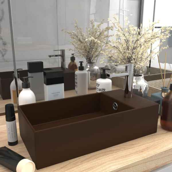 vidaXL Chiuvetă de baie cu preaplin, maro închis, ceramică
