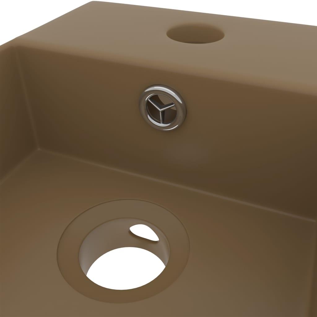 vidaXL Chiuvetă de baie cu preaplin, crem mat, ceramică