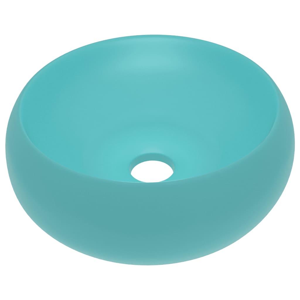 Chiuvetă baie lux verde deschis mat 40×15 cm ceramică rotund