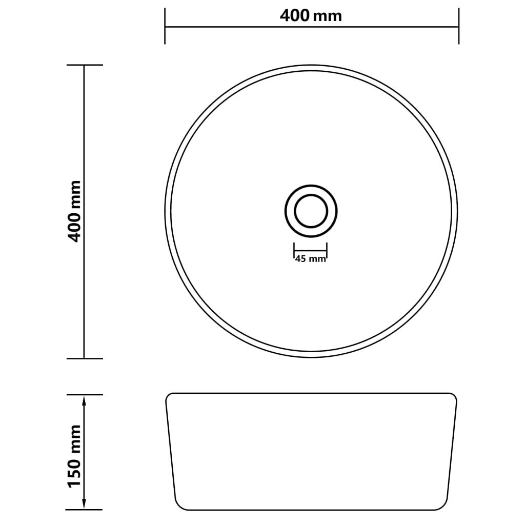 Chiuvetă de baie lux, alb mat, 40 x 15 cm, ceramică, rotund