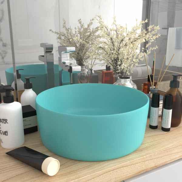 vidaXL Chiuvetă baie lux verde deschis mat 40×15 cm ceramică rotund