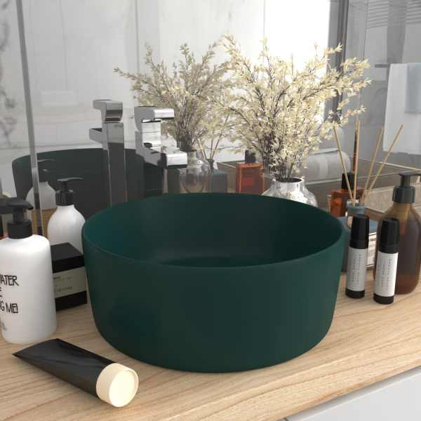 vidaXL Chiuvetă baie lux verde închis mat 40×15 cm ceramică rotund