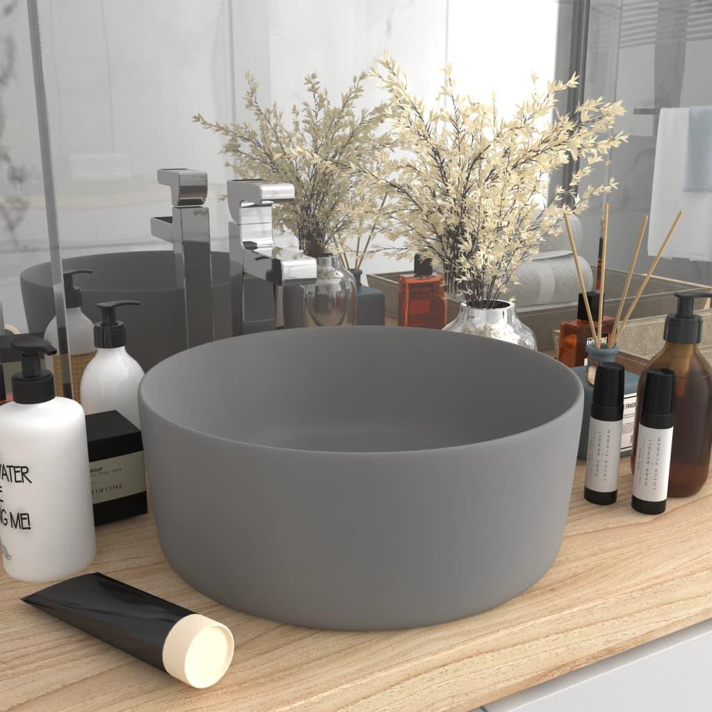 vidaXL Chiuvetă baie lux gri deschis mat 40×15 cm ceramică rotund