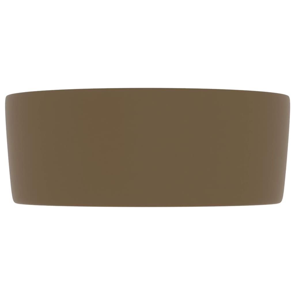 vidaXL Chiuvetă baie lux, crem mat, 40×15 cm, ceramică, rotund