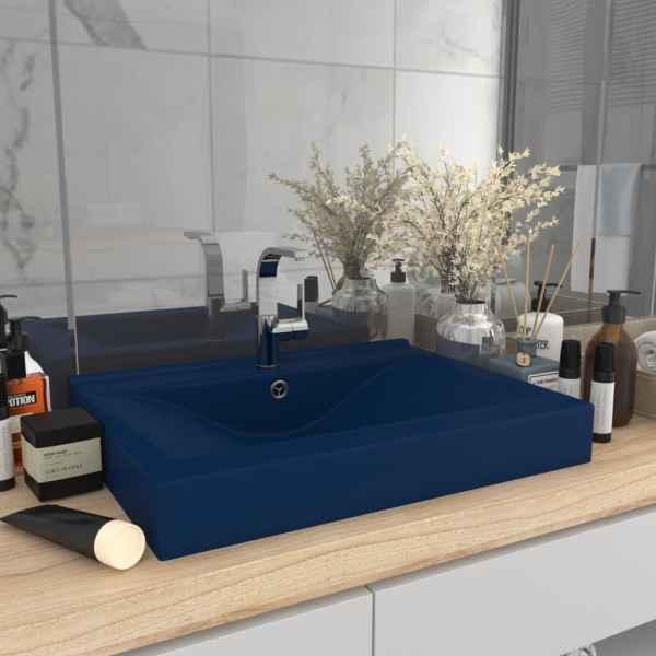 vidaXL Chiuvetă baie lux orificiu robinet albastru 60×46 cm ceramică