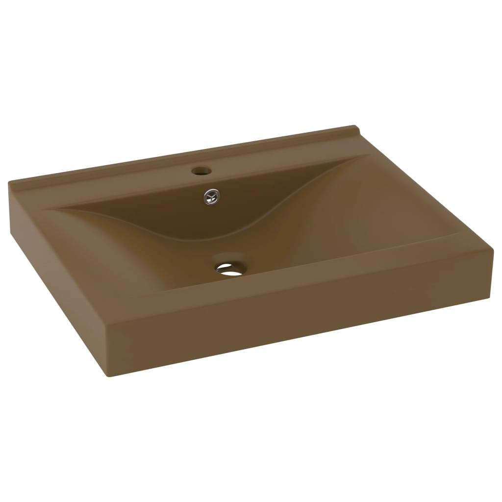 vidaXL Chiuvetă baie lux, orificiu robinet crem mat 60×46 cm ceramică