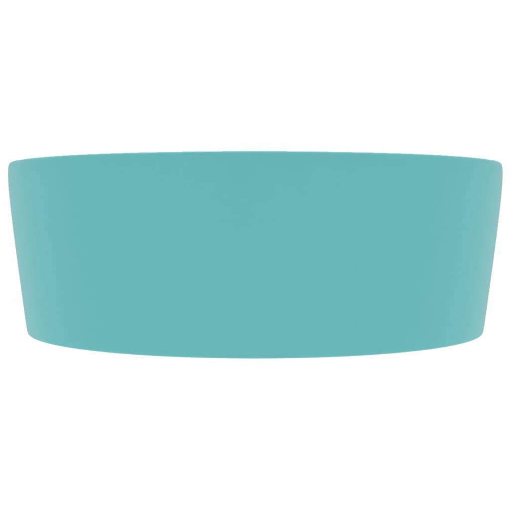 Chiuvetă de lux cu preaplin verde deschis mat 36×13 cm ceramică