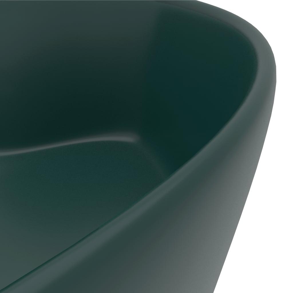 Chiuvetă de lux cu preaplin verde închis mat 36×13 cm ceramică