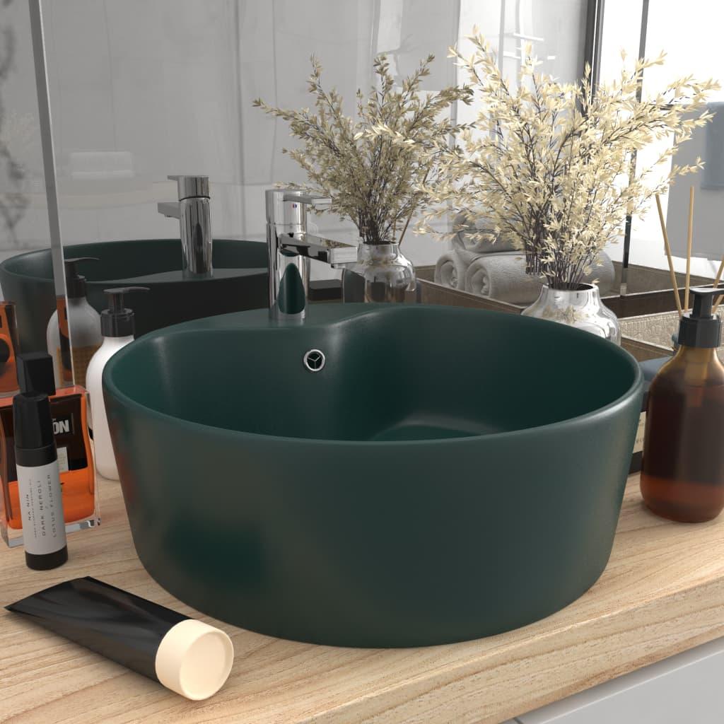 vidaXL Chiuvetă de lux cu preaplin verde închis mat 36×13 cm ceramică