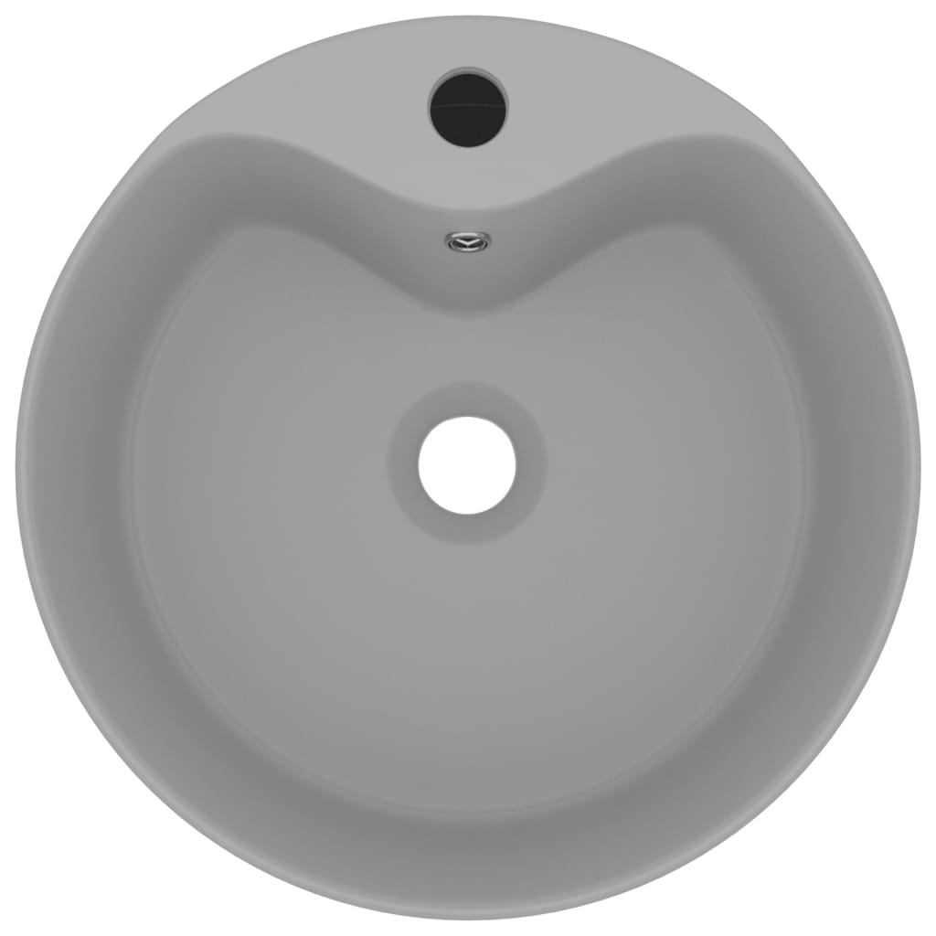vidaXL Chiuvetă de lux cu preaplin, gri deschis mat, 36×13 cm ceramică